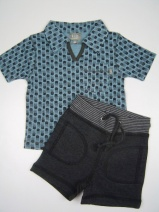 KIDSCASE Z2009 stoer setje polo/short (blue-black) 68